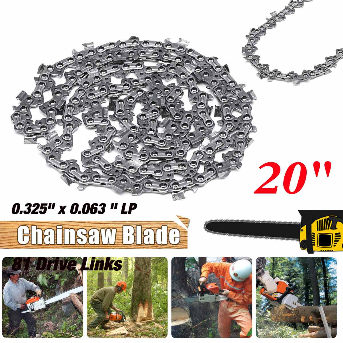 New 81 Link 20 inch Bar 0.063 x 0.325 LP Chainsaw Chain Woodworking Alloy Garden Chains Saws Power Tool PartsNew 81 Link 20 inch Bar 0.063 x 0.325 LP Chainsaw Chain Woodworking Alloy Garden Chains Saws Power Tool Parts