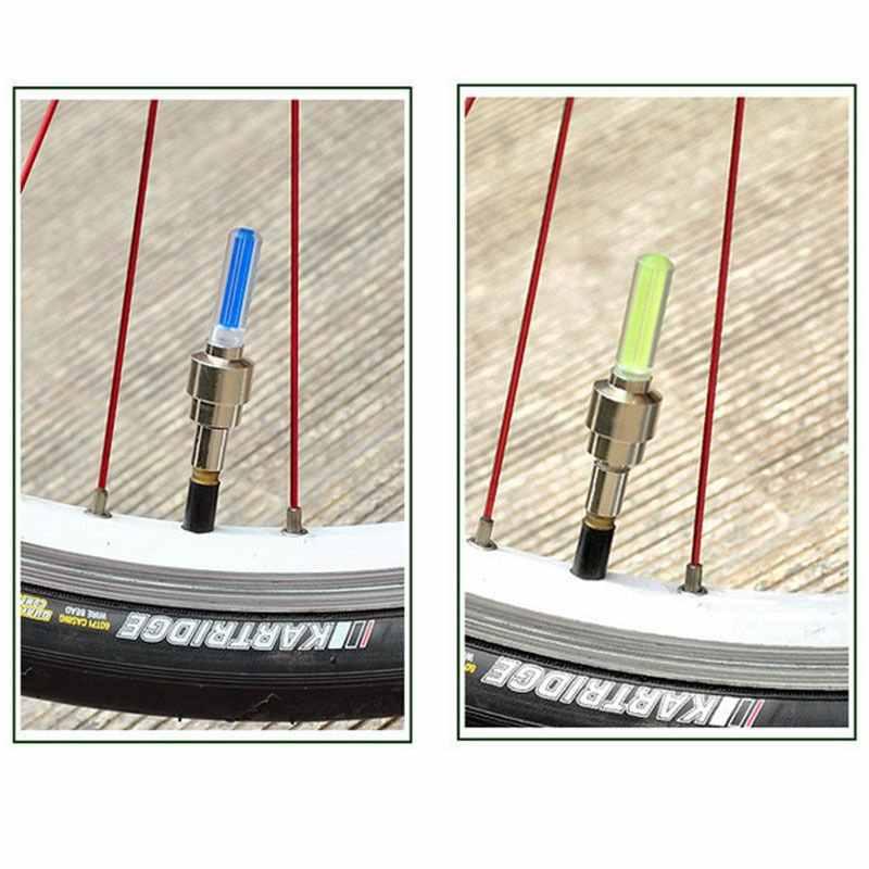 2 stücke Neuheit LED Blau Bunte Fahrrad Auto Motorrad Rad Reifen Reifen Ventil Kappe Neon-Licht Lampe Auto Reifen zubehör