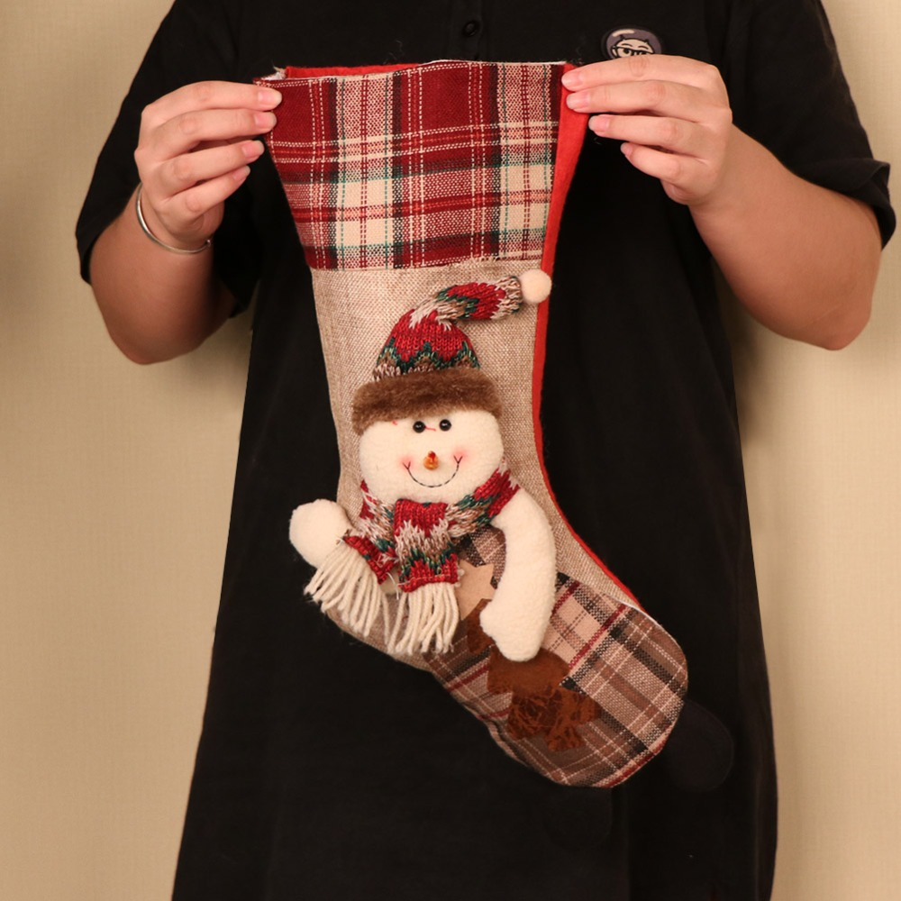 Image 3 - OurWarm Large Christmas Stocking Santa Claus Sock Plaid Burlap Gift Holder Christmas Tree Decoration New Year Gift Candy Bags-in Stockings & Gift Holders from Home & Garden