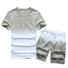 New Fashion Casual Sport Tracksuits Short Sleeve Thin Summer Mens T-shirt Suits M-4XL