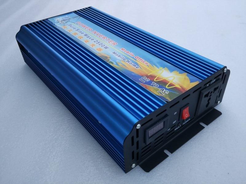 цена на Fedex UPS DHL TNT Free Shipping 2500W Pure Sine wave 12VDC to 220/230VAC Inverter inversor panel solar