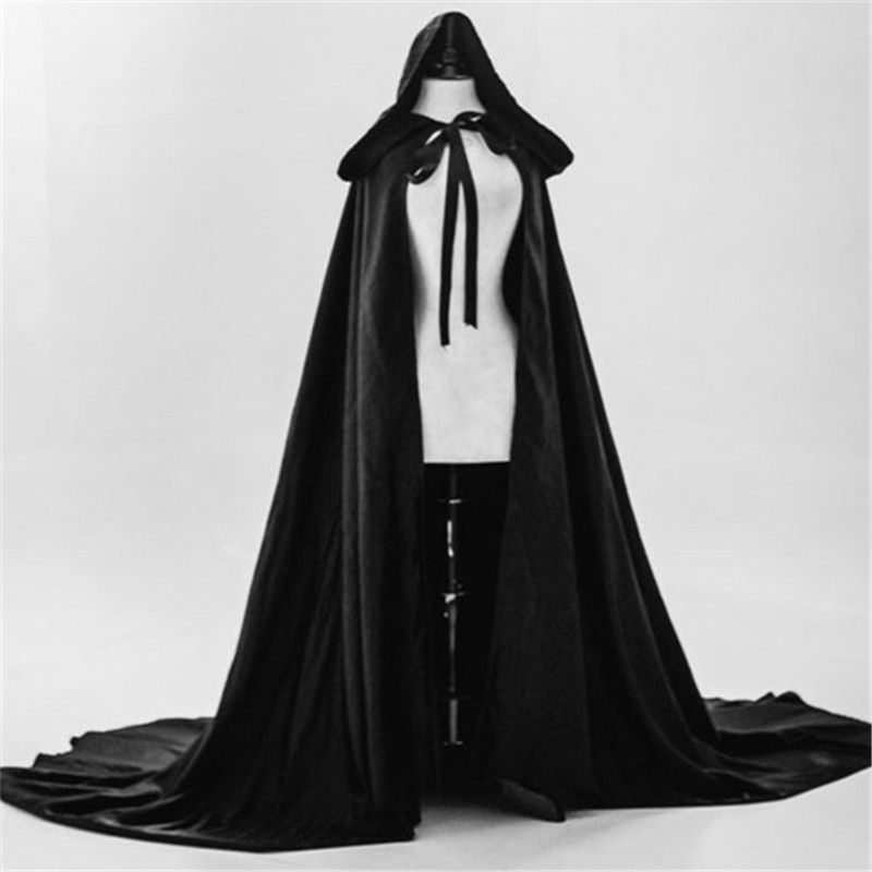 Black cloak satin cape with hood