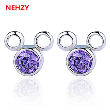 New fashion Ms. Princess temperament exquisite sterling silver stud earrings natural purple crystal jewelry Mickey Mouse cartoon