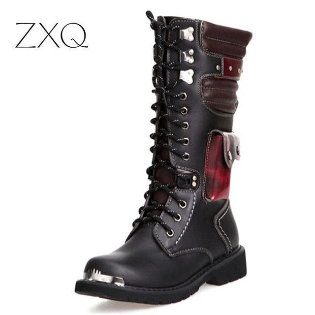 Botas de los hombres de La Vendimia Clásico Punk Estilo de Moda de Alta Botas Largas Gran Cabeza Zapatos de Trabajo Al Aire Libre