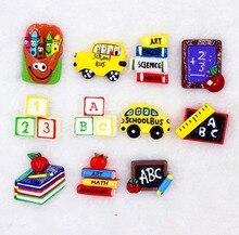 10pcs/lot DIY flat back resin school items book school bus blackboard kawaii resin cabochons accessoires