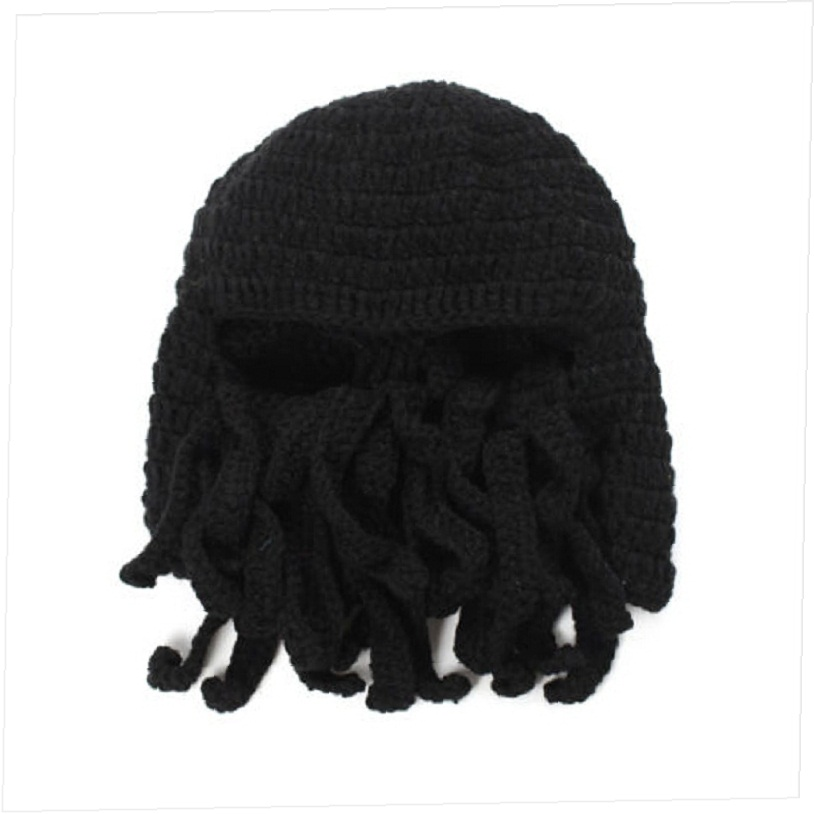 63af2d7bd2d Unisex Squid Cap Women Men Winter Warm Knit Crochet Beard Beanie Mustache  Face Mask Ski Squid Cap Warmer Hat -in Skullies   Beanies from Apparel  Accessories ...