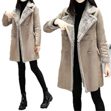 2017 Women Winter Suede Clothing Women's Cotton Down Jacket Thick Warm Sheep Lambswool Female Jacket Slim Fashion Coat A2147