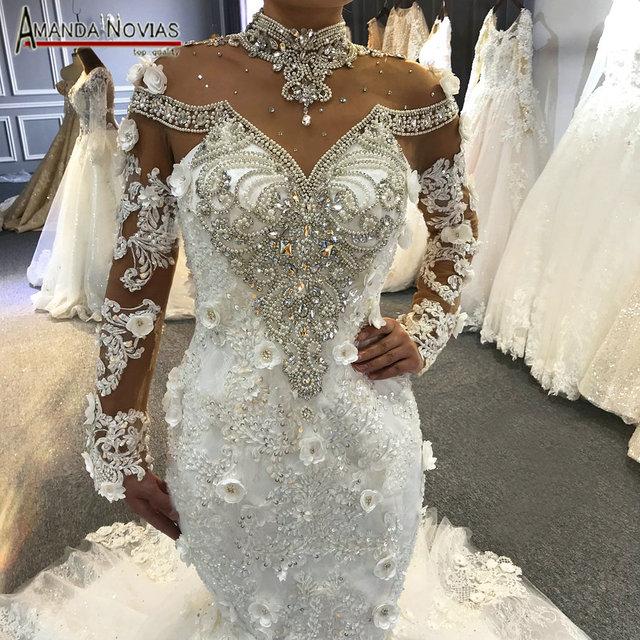 אמנדה Novias העבודה האמיתית תמונות בת ים חתונה שמלה 2019 יוקרה מלא ואגלי כלה שמלת בת ים שרוולים