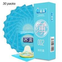 Mingliu marca 30 pçs ultra super fino 002 preservativos fino pênis manga íntima condones kondom adulto brinquedo do sexo produto para homem