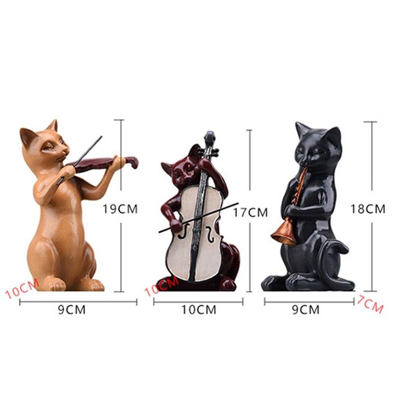 Home Decor Cats Music 3pc/Set Resin Figurine Musician Statue Violin Sculpture Cute Animal Miniature Violinist Vintage
