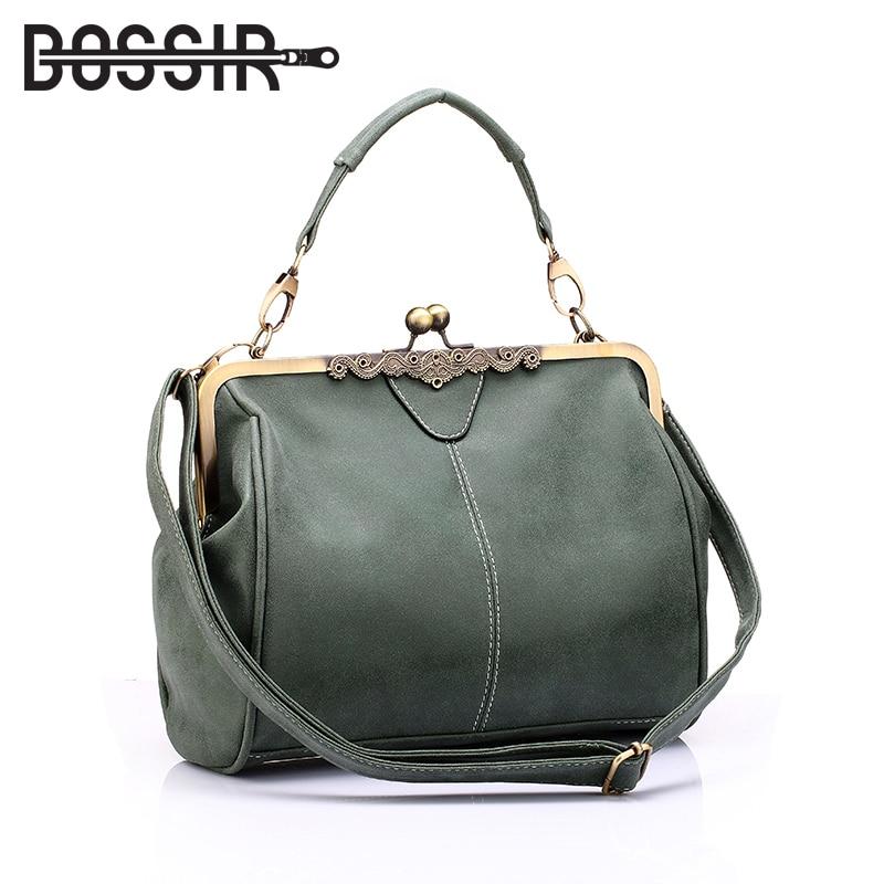 Vintage Women Messenger Bags Small Retro Crossbody Shoulder Bags Female Fashion Metal Frame Pu Leather Small Clutch Handbags messenger bag