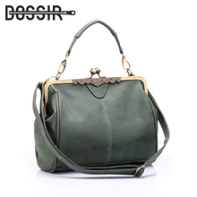 Vintage Women Messenger Bags Small Retro Crossbody Shoulder Bags Female Fashion Metal Frame Pu Leather Small Clutch Handbags