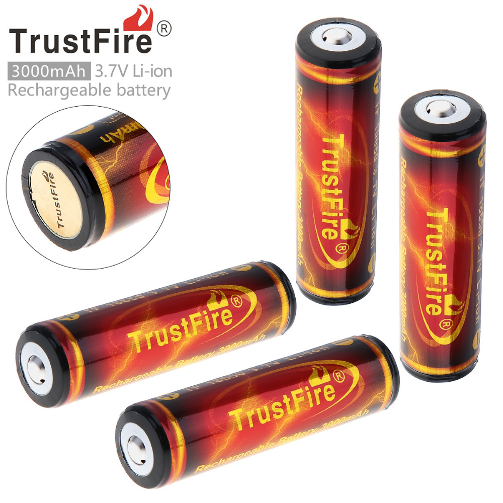 все цены на 4PCS/Lot TrustFire Genuine Full Capacity 3000mAh 18650 3.7V Li-ion Rechargeable Battery with Protected PCB