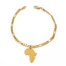 Anniyo 21 см Карта Африки браслет цепочка для женщин и мужчин унисекс золотой цвет африканский шарм браслеты ювелирные изделия ручной цепи#210906