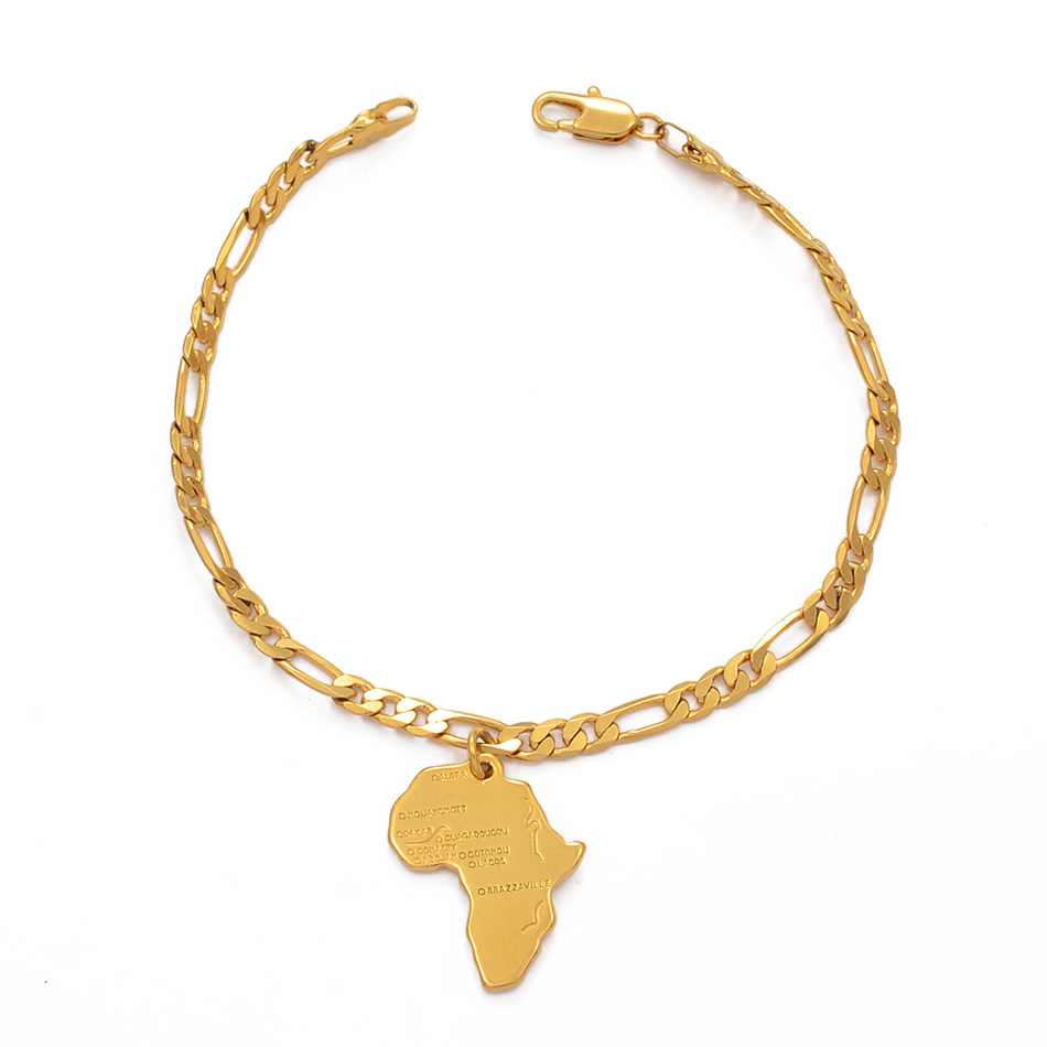 Anniyo 21cm Africa Map Bracelet Chain for Women Men Choker Chain Gold Color African Charm Bangles Jewelry Hand Chains #210906