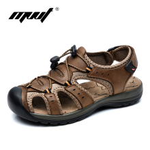 Summer breathable outdoor sport men sandals Genuine leather beach shoes men Larg size 38-45 leather sandals