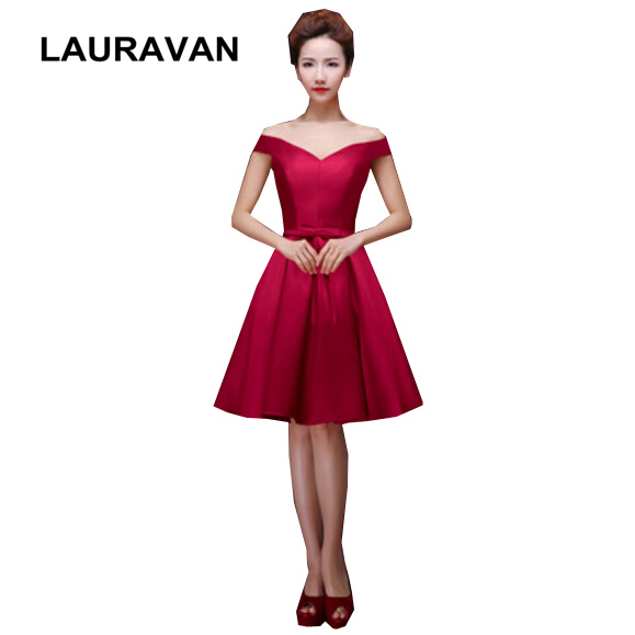 Burgundy Wine Red Mariage Boat Neck Bridesmaid Dresses Bridesmaids Satin Dress Plus Size Formal For Wedding Free Shipping