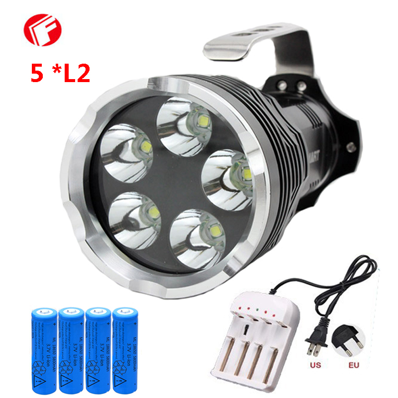 Powerful led flashlight 18650 Rechargeable battery 5 CREE XM L2 Light beads Shock Resistant Self Defense led light 1 18650 battery 1 charger cree xm l2 u4 led aircraft grade al 6061 t6 aluminum material rifle lights weapon light flashlight