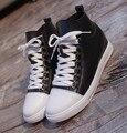 Новый 2017 сплит натуральная кожа дизайнер квартир женщин мода высокого верх зашнуровать женские ботильоны обувь лучшие качества плоский обувь