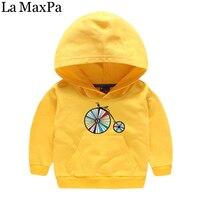 La MaxPa Autumn New Kids Boys Hooded Sweatshirts 2018 New Design Wheel Printed Child Girl Hoodies Children Clothes Outerwear