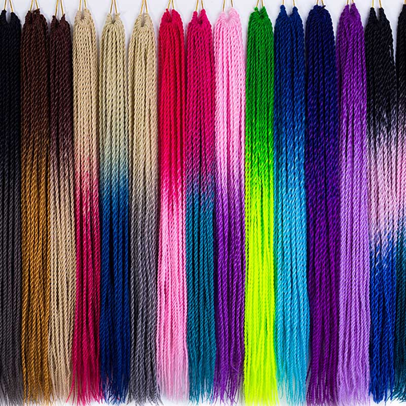MERISIHAIR 30-Roots/Pack Synthetic Crochet Senegalese Grey Pink Blue Ombre Women 24inch