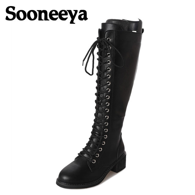 c9685a76bcb0 Sooneeya Zipper Lace up Design Women Boots PU Punk Gothic Platform Shoes  Square Low Heel Riding Motorcycle Heel Knee High Boots