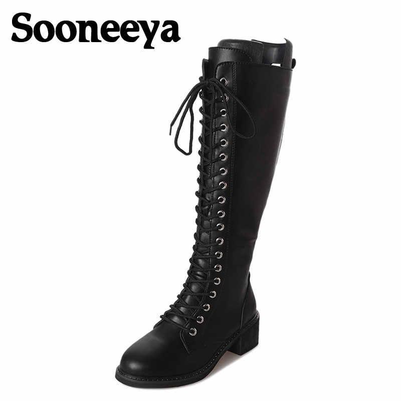 Sooneeya fermuar Lace up tasarım kadın botları PU Punk gotik platform ayakkabılar kare düşük topuk sürme motosiklet topuk diz yüksek çizmeler