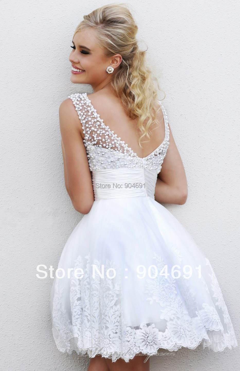 White Short Party Dress - Ocodea.com