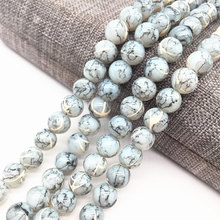 Wholesale 4/6/8mm Light gray Salad Glass Beads Loose Spacer Painted Pearl Charm DIY Jewellery Making #19(China)