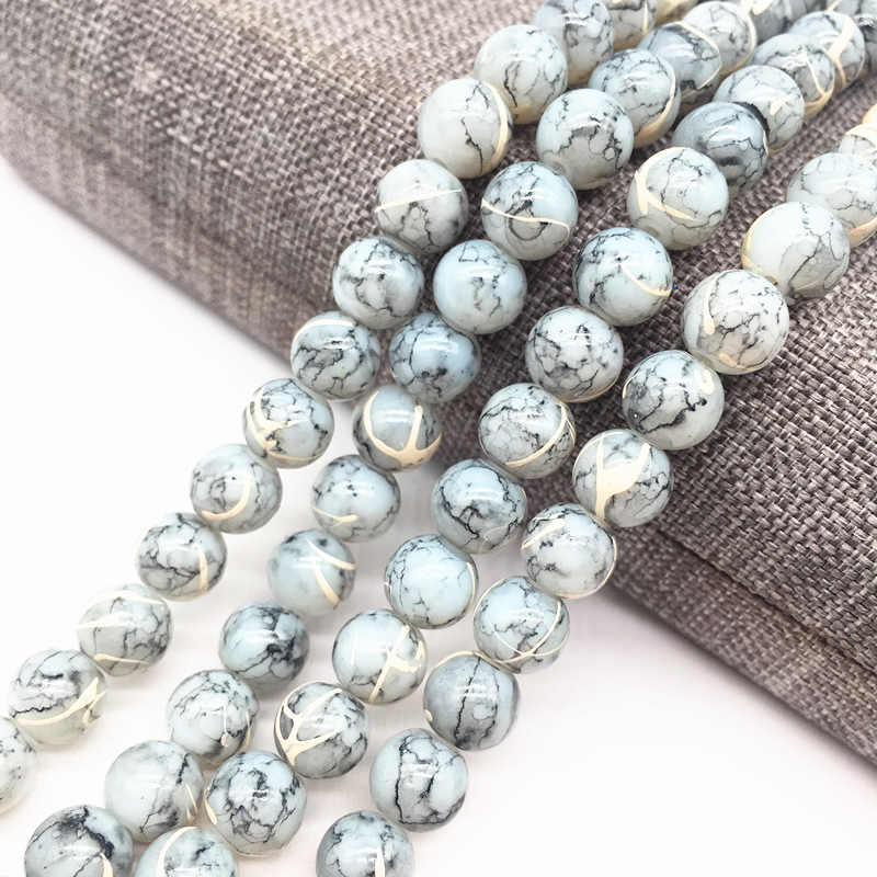 Wholesale 4/6/8mm Light gray Salad Glass Beads Loose Spacer Painted Pearl Charm DIY Jewellery Making #19