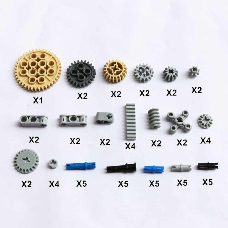 60PCS Bulk Technic Parts DIY Model Building Blocks Bricks Compatible Legoes Gears Connecoters Technik Sets House Accessories
