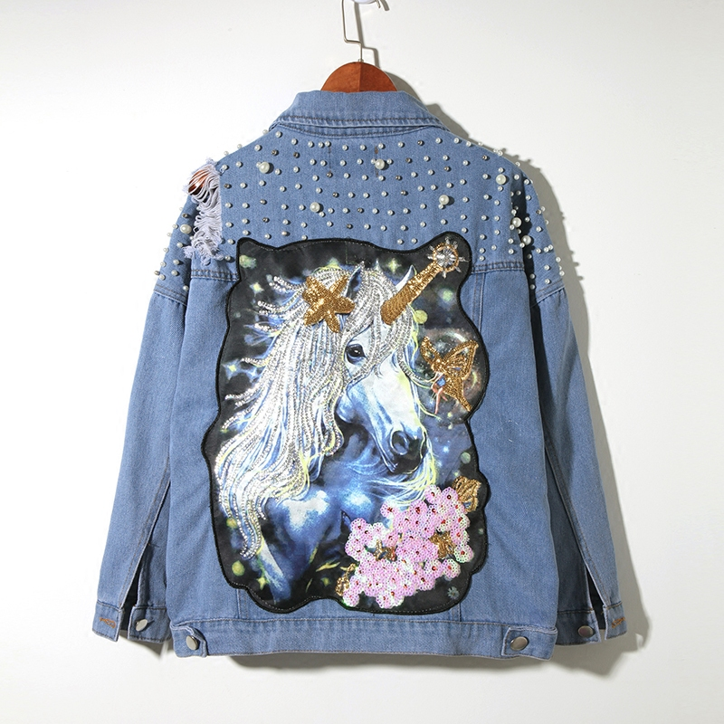 LYFZOUS Pearl Dotted Unicorn Patch Denim Jacket Wom