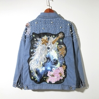 LYFZOUS Pearl Dotted Unicorn Patch Denim Jacket Women Tearing Hole Sequin Lapel Long Sleeve Jean Coat Autumn Blue Denim Jackets