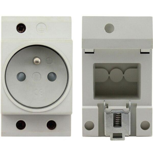 250V 16A EU / DE Standard Distribution Box Guide Rail Socket Modular Socket Power Outlet 2P+E Free shipping FRCAP7  цены