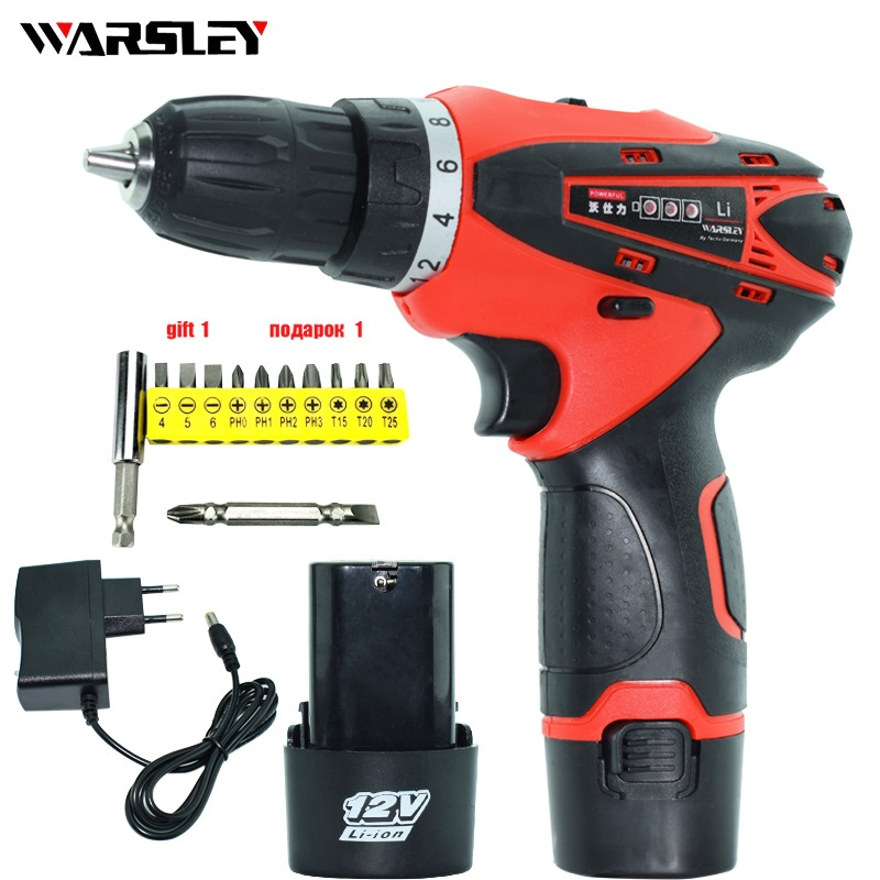 12V charged drill cordless electric screwdriver battery mini Electric drill with lithium battery power tools hand drill motor wosai 20v cordless electric hand drill lithium battery electric drill cordless 2 speed drill electric screwdriver power tools