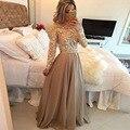 Новая Весна Элегантная Шея Полный Рукавом Кружевном Платье Платье Hollow Длина Пола Платье