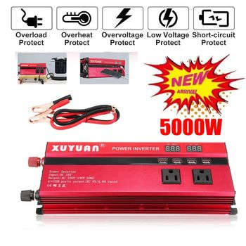 KROAK Inverter 12V 220V 5000W Pe ak Car Power Inverter Voltage Transformer Converter 12V To 220V Solar Inversor Black Style
