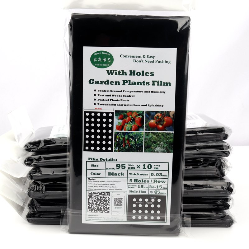 5 Bags 95cm*10m 5Holes Garden Film Agricultural Vegetable Plants Protection Black Film Perforated Plastic PE Mulch Film Easy Use