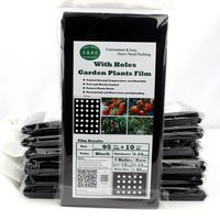 5 Bags 95cm*10m 5Holes Garden Film Agricultural Vegetable Plants Protection Black Film Perforated Plastic PE Mulch Film Easy Use|Plant Covers|   -