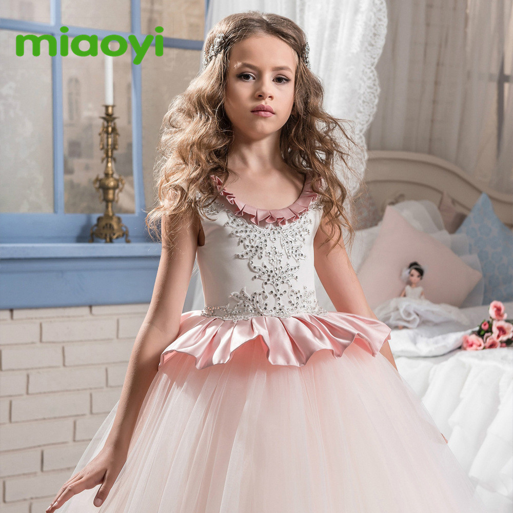Flower Petal Girls Dresses Summer 2017children Princess Dresses For baby Print Girl Party Dress Kids Girls Clothes Wedding dress цена