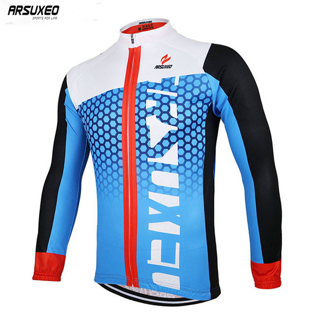 ARSUXEO Men's Spring Autumn Cycling Jersey Bike Bicycle Long Sleeves Mountain MTB Jersey Clothing Shirts ZLJ21-Q
