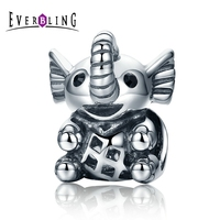 Everbling Jewelry Baby Elephant 100 925 Sterling Silver Charm Beads Fit European Charms Bracelet Y