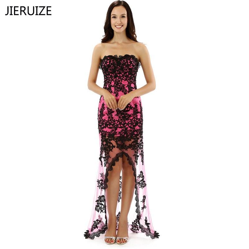 JIERUIZE Fuchsia and Black Lace Appliques Hi Low   Evening     Dresses   Sweetheart Front Short Long Back Prom Party   Dresses   robe longue