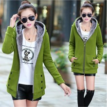 2014 winter spring and autumn women's young girl outerwear hoodie outergarment medium-long plus velvet thickening sweatshirt