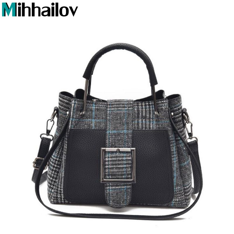 New Arrival High Quality PU Leather Women Bag Shoulder Bags Plaid Handbag Large Capacity Metal Top-handle Tote Bags XS-440 2018 new women bag ladies shoulder bag high quality pu leather ladies handbag large capacity tote big female shopping bag ll491