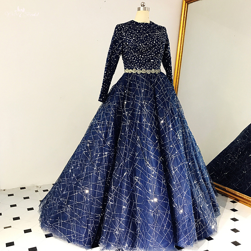 US $8.8 RSE8 Modest Long Sleeves Abendkleider Ballkleider Ball Gown  Luxury Sequin Navy Blue Prom DressesProm Dresses - AliExpress