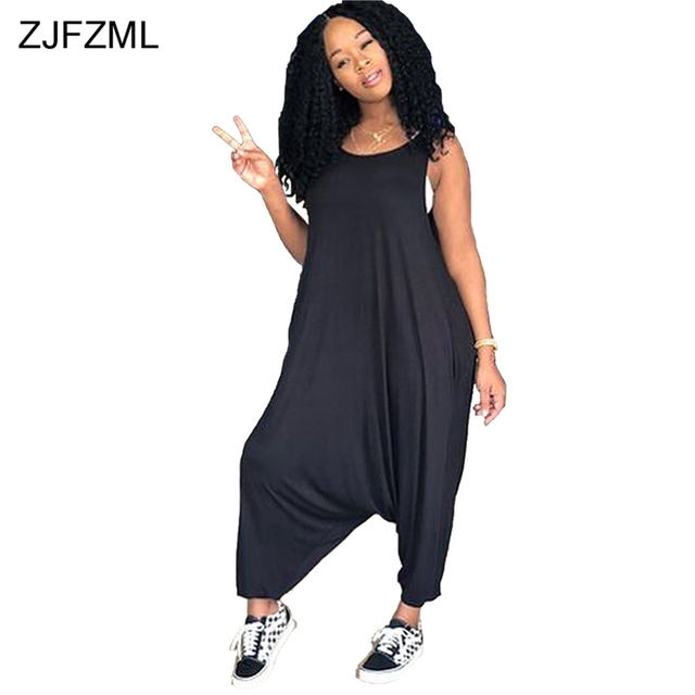 5f601a76b413d ZJFZML Round Neck Sleeveless Casual Jumpsuit 2018 New Women Black Loose  Harem One Piece Overalls Summer Yellow Loose Long Romper. WINTER SALE