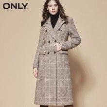 Только женское зимнее новое шерстяное клетчатое длинное шерстяное пальто с карманом и разрезом сзади пальто женское зимнее   11836U508