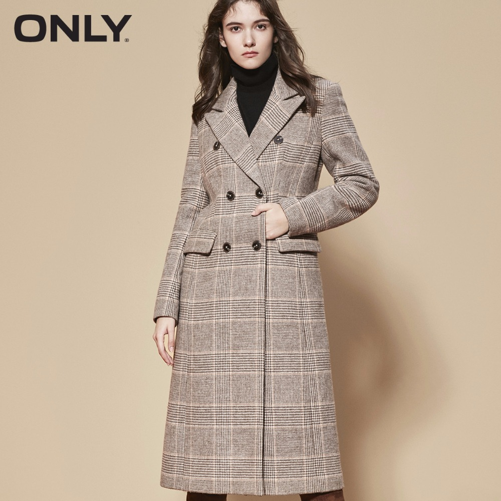 ONLY  Womens' Winter New Wool Plaid Long Woolen Coat Flap Pocket Rear Slit 11836U508