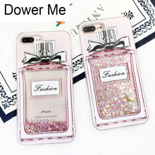 Dower Me Fashion Pink Perfume Bottle Bling Glitter Liquid Qu